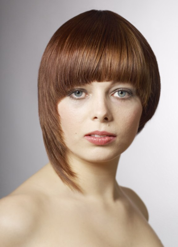 Boy Hairstyles For Round Faces: Short Page Boy Cut With A Smooth Bowl Shape And Inward