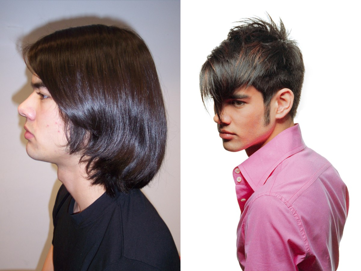 Stylish new look for a man   Short hair with a longer top ...