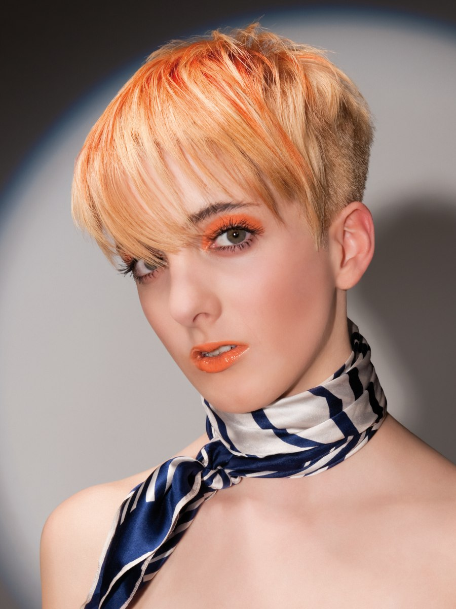 Blonde Orange Hair Short Clipped Sides Back