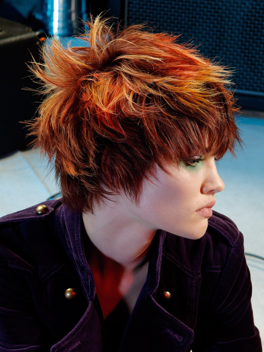 Ruffled And Fringy Punk Hairstyle With Spiky Texture And
