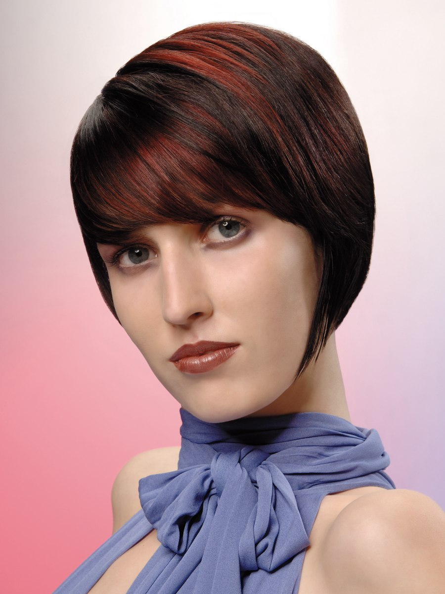 Sophisticated Short Hairstyle With Chestnut And Mahogany