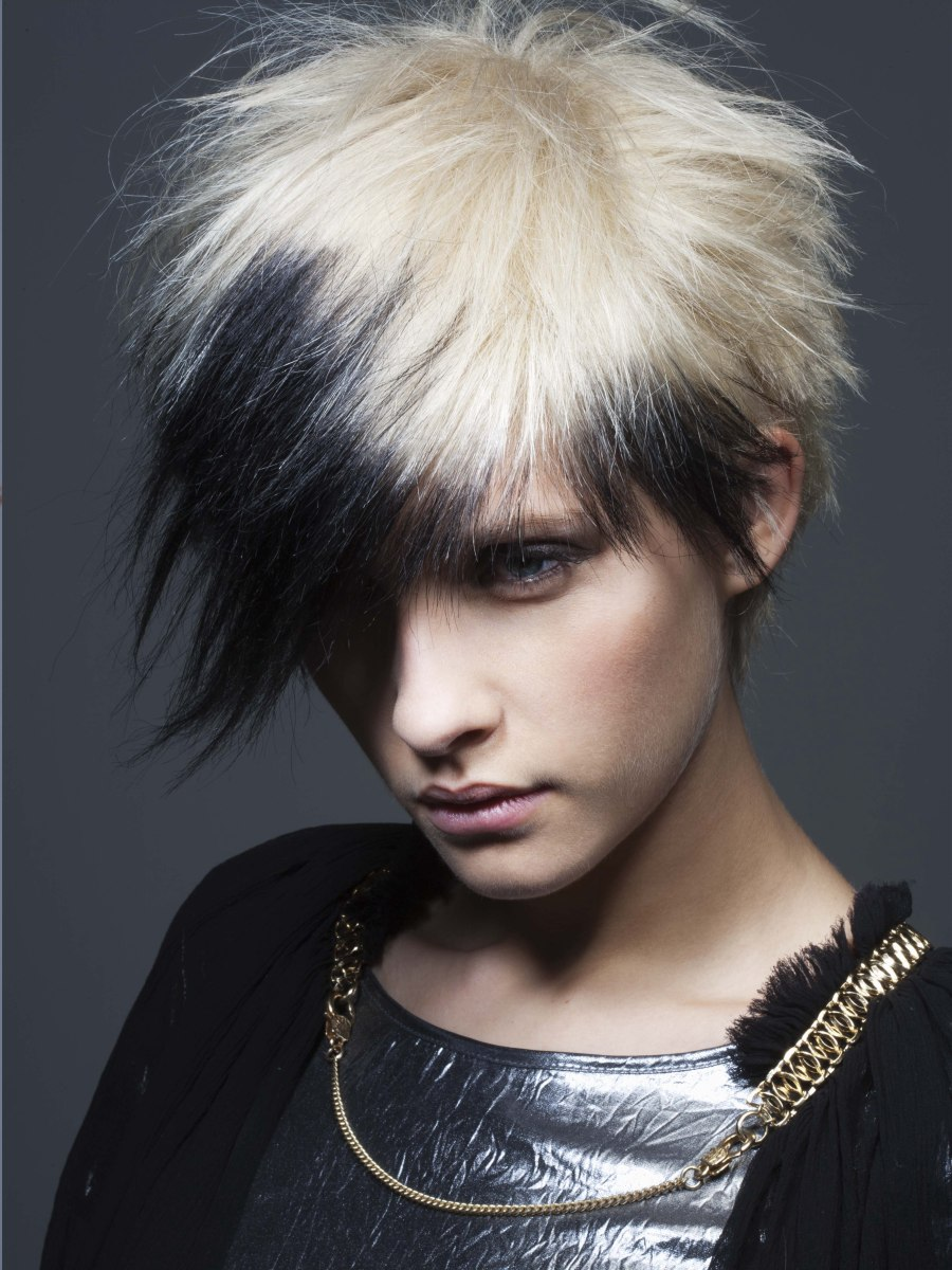 Peachy Short Punk Haircut With Spikes And A Contrast Of Black And Hairstyle Inspiration Daily Dogsangcom