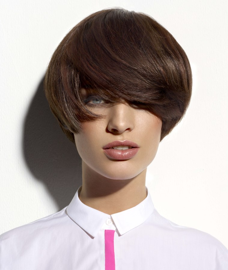 Fashionable short hairstyle with a long fringe