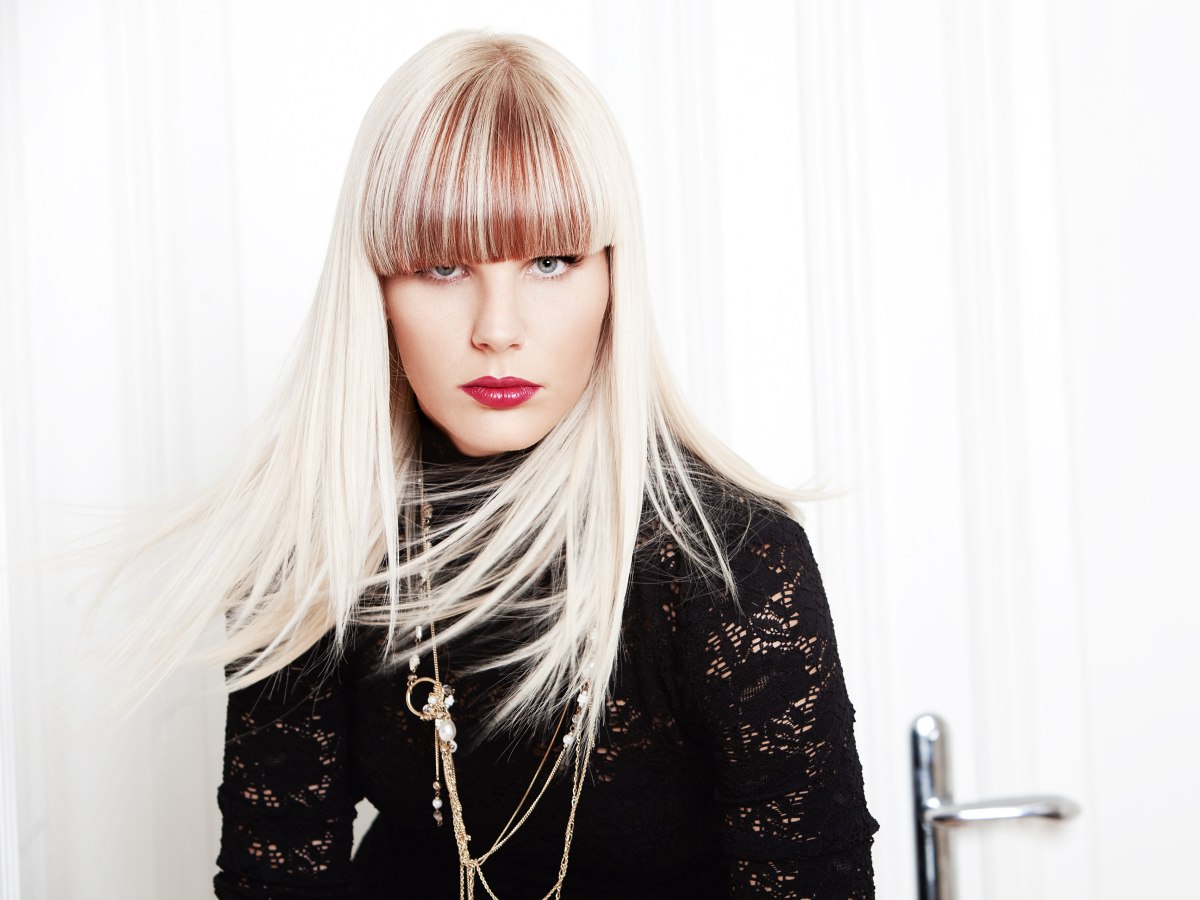 Long hairstyle with straight bangs in two colors