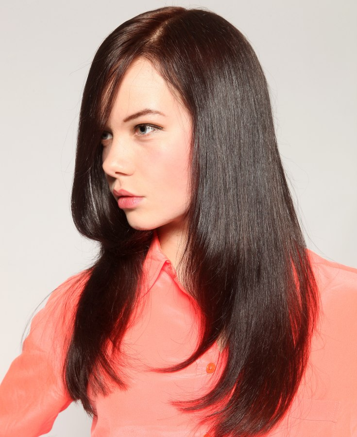Sleek Long Hairstyle With Natural Movement Shine And A