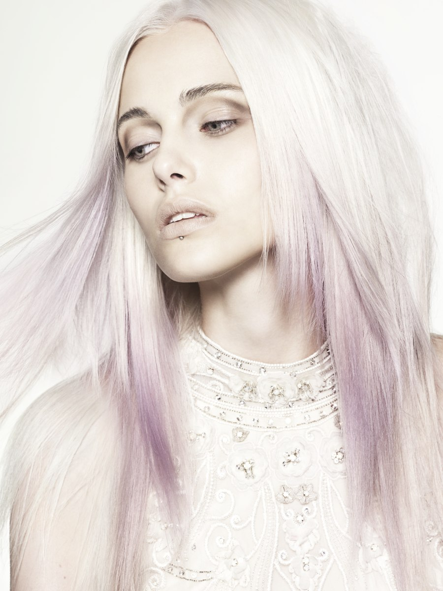 Long layered hairstyle with a color combination of platinum blonde ...