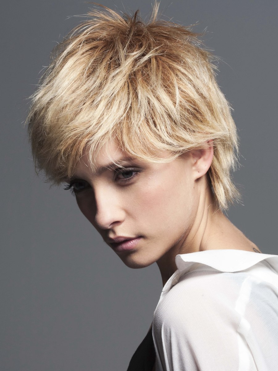 Feminine boy cut with the cropped hair layered in the neck ...