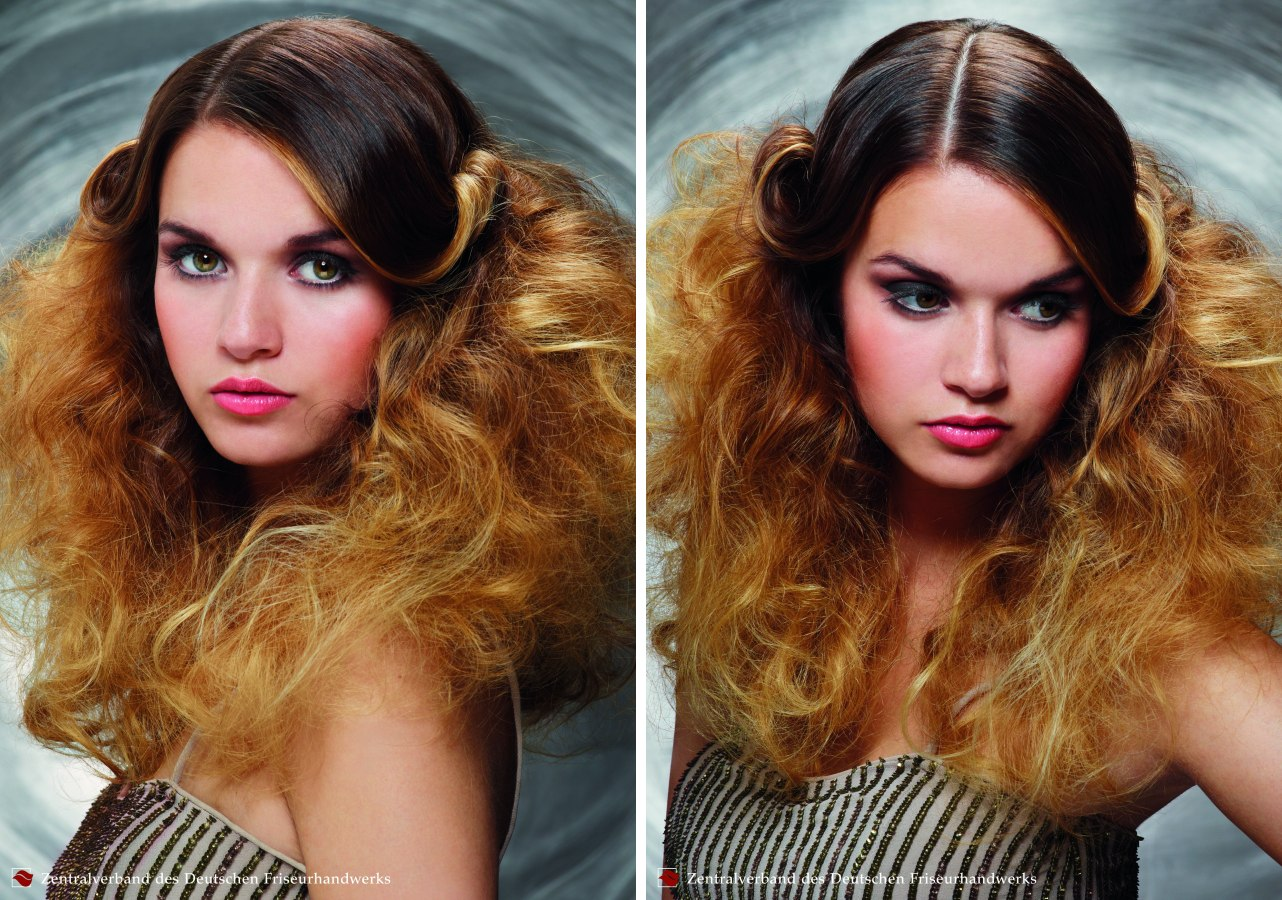 extravagant long summer hairstyle with teased curled and