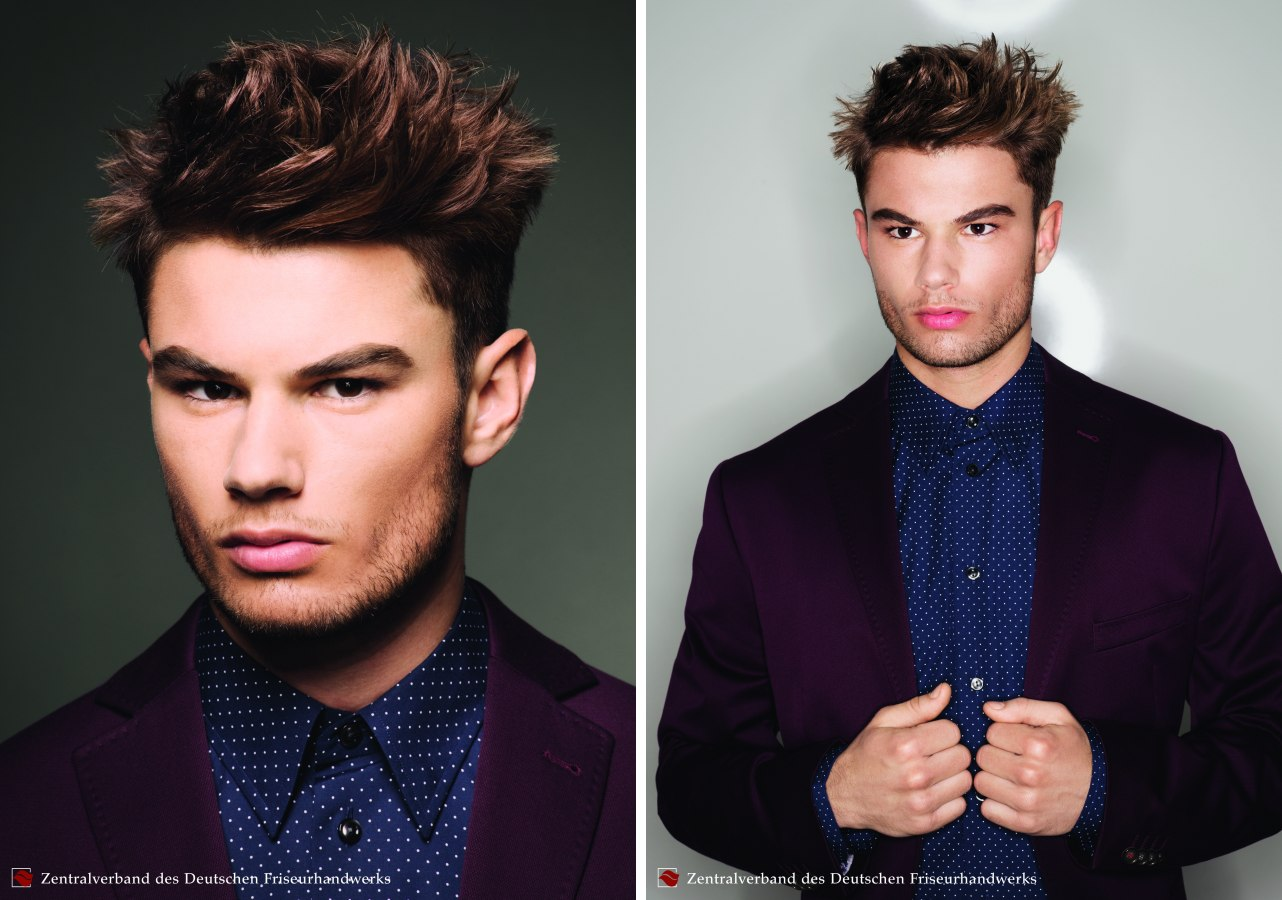 Short Men's Hair With A Neat Outline And Soft Spikes