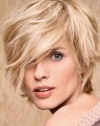 Casual short hairstyle with layers and long bangs