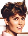 Brunette pixie cut that you can style with your fingertips