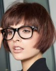 bob haircut and glasses