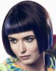 Short geometric bob with super short blunt bangs
