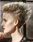 Easy to style and maintain pixie haircut with a wedge shape