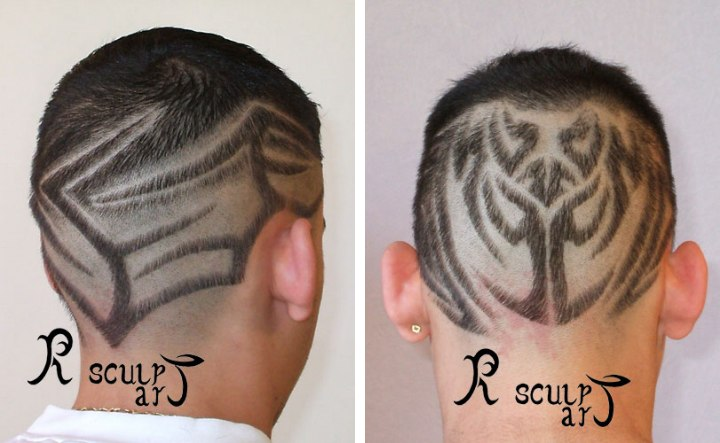 Hair carving hair tattoos and tribal hair design onto shaven heads