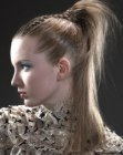 fashionable high ponytail
