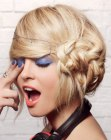 updo with side braid