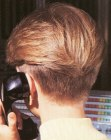 Nape view of a short 1980s hairstyle