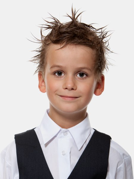 Miraculous Short Haircut With Punk Gel Styling For Little Boys Short Hairstyles Gunalazisus