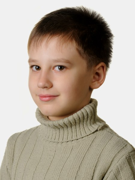 Very short haircut with hair that stands up, for boys