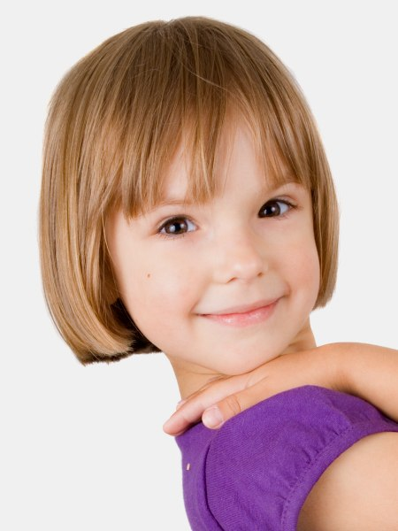 Superb Between Earlobe And Chin Bob With Bangs For Little Girls Hairstyles For Women Draintrainus
