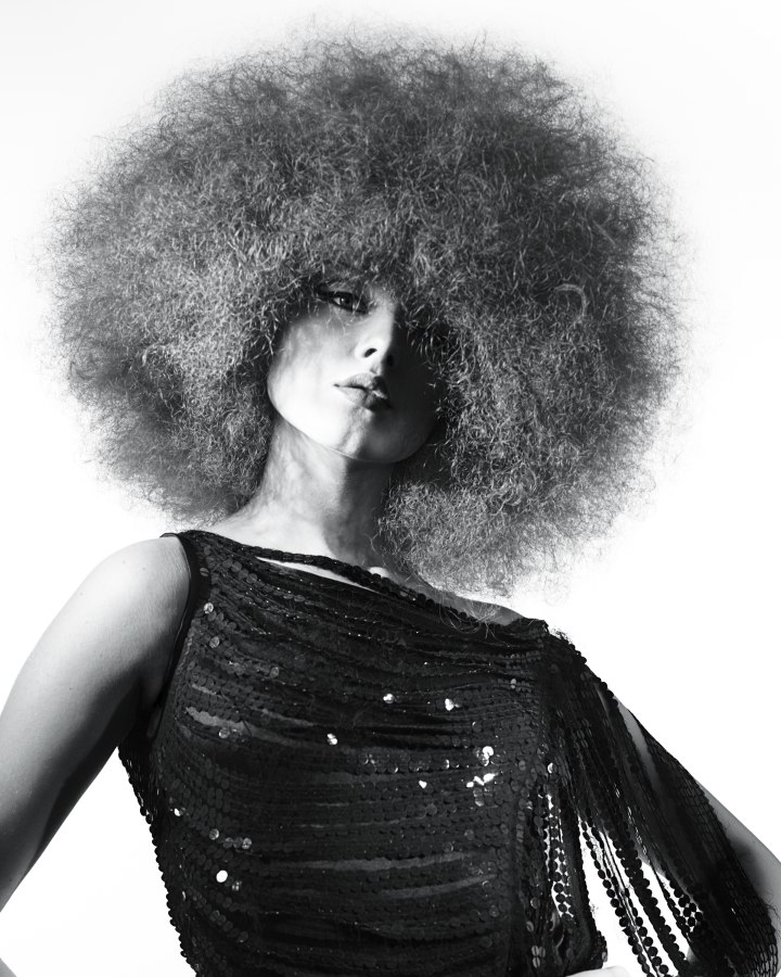 Very Curly Big Hair For A 70s Inspired Afro Style