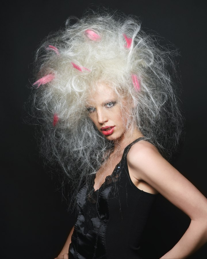 Platinum Blonde Big Hair With Colored Feathers