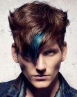 hair with a blue streak for men