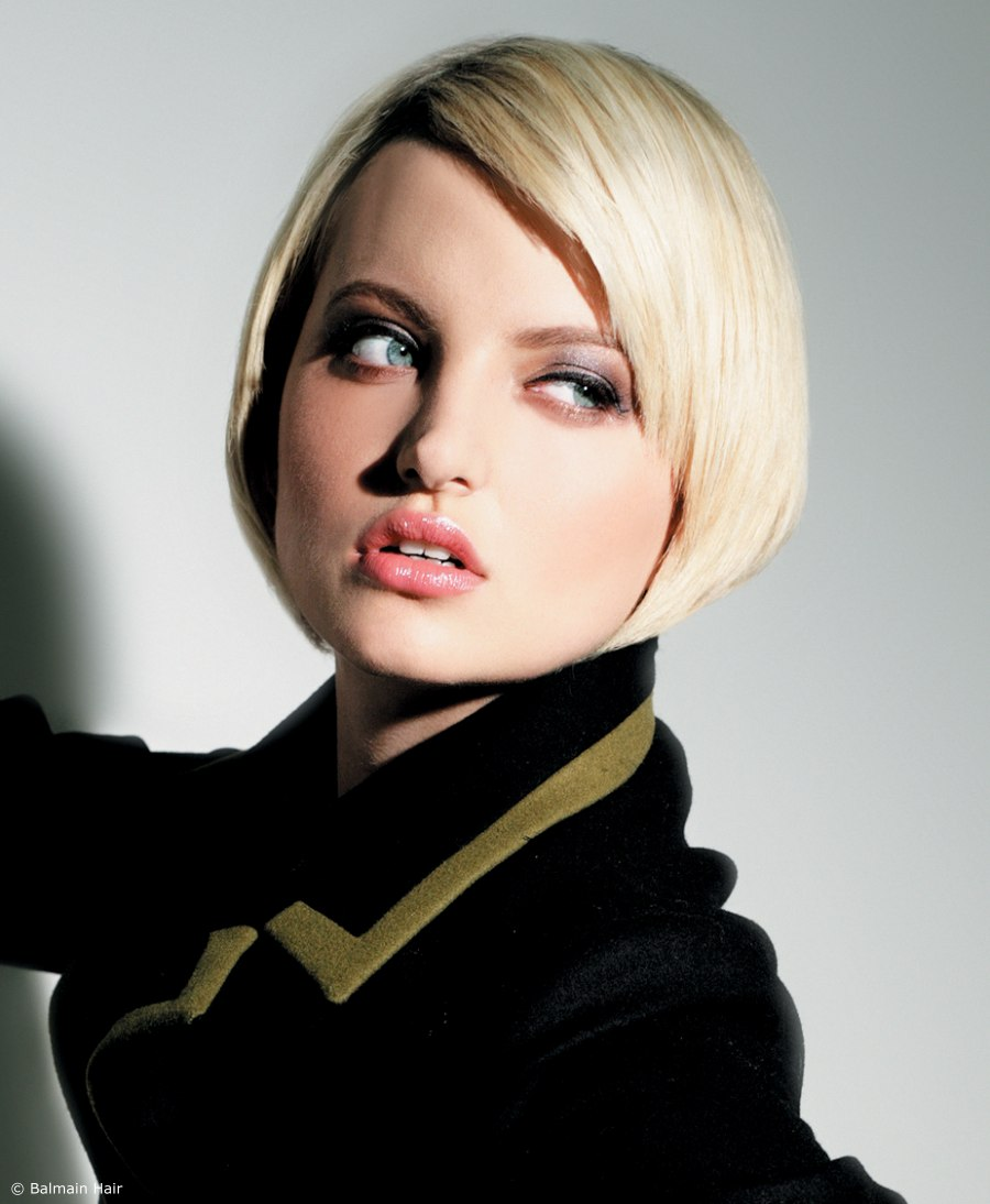 sixties-inspired bob with an angle-cut fringe area