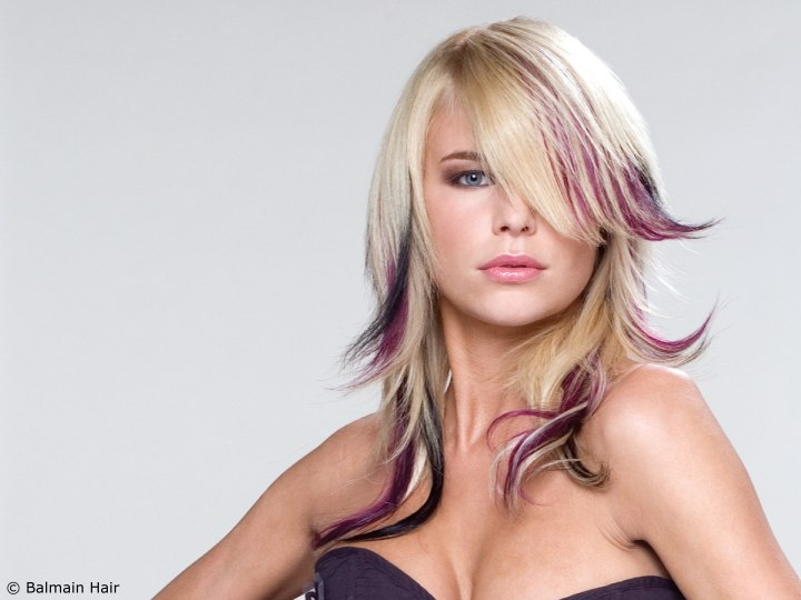 blonde hair purple highlights. londe hair purple highlights.