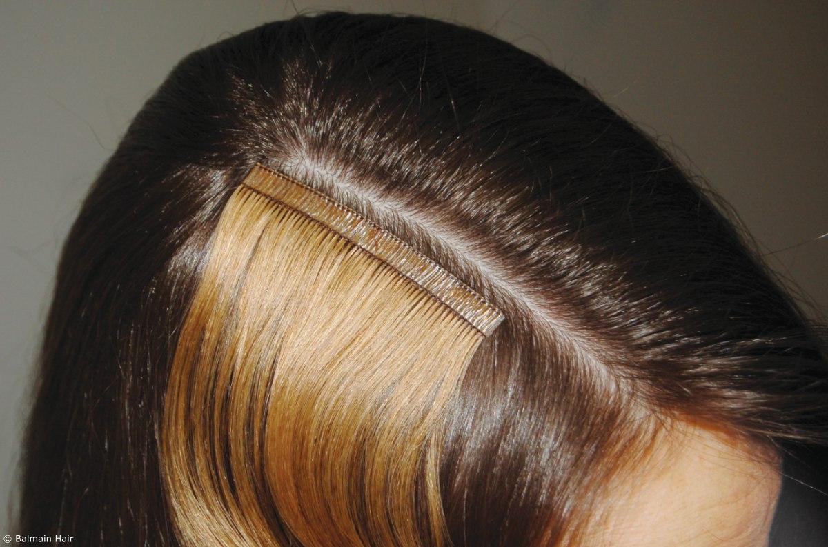 Tape hair extensions balmain