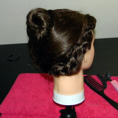 Hairline braid with a twisted bun