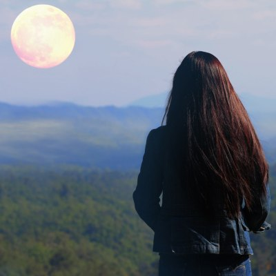 Long hair and full moon