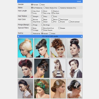 App to search hairstyles