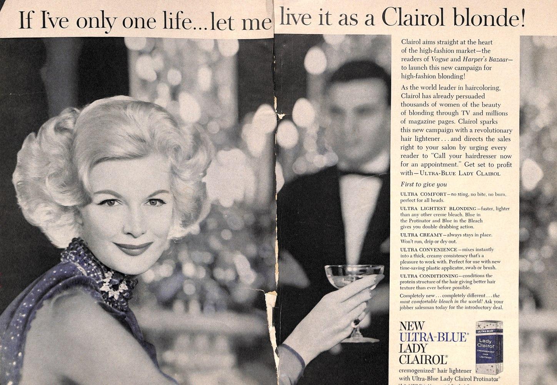Lady Clairol Hair Lightener Vintage 1960s Hair Ad